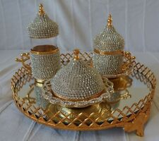 Turkish Coffee Water Set Swarovski Crystal Coated Cup Jardiniere Mirror Tray