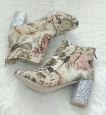 ASOS Canvas Block Heel Floral Ankle Boots Size 5 EU 38 Quirky