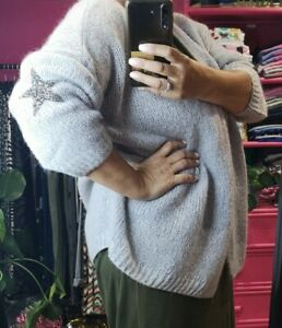 NEW Regular Fit Onesize 8-16 Silver Grey Mohair blend knitted CARDI star motifs