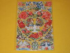 1 Bogen Poesiebilder Oblaten Glanzbilder Blumen 352 Bordüren Girlanden Kranz vie