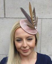 Nude Sinamay Brown Pheasant Feather Pillbox Hat Fascinator Races Hair Clip 5525