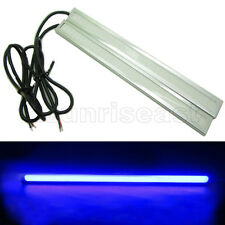 2 x Blue COB Car LED Light DRL Daytime Runing Driving Fog Lamp Silver Aluminum