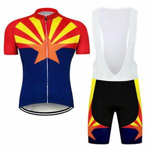 Arizona State Flag Men Cycling Jersey Bib Shorts Kits Bike Shirt Short Pants Pad