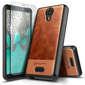 For AT&T RADIANT CORE Phone Case, Shockproof Leather Cover With Tempered Glass