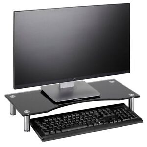 Black Curved Glass PC Screen Monitor Mount Computer Display Riser Small TV Stand