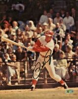 PETE ROSE Autographed 8x10 action batting Photo Signed Picture Cincinnati REDS