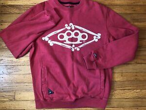 10 Deep Mens Med. Crew Sweatshirt. Red/waist Pockets.