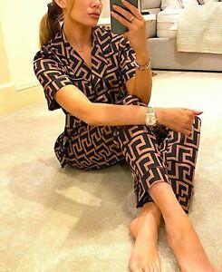 Women's Ladies Greek Teddy Satin Silk Collard PJ Nighty Pyjamas Suit PJ's UK