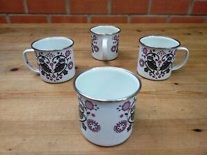 Vtg Folklore Enamel Cups Mugs x 4 Owl Heart Nordic Scandinavian Nina Jarema