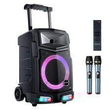Mobiler DJ PA Party Bluetooth Lautsprecher LED Akku Box Karaoke Maschine 500W DE