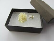 Handmade Unusual Gift Idea Pretty Cream Ivory Rose Flower Brooch Pin  Gift Boxed