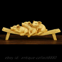 "3.5/"" Fine China Box-wood Hand Carved Naked Female Human Body Art Statue Statuary"