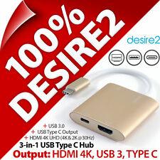 Desire2 3-in-1 Type-C Hub Adapter HDMI 4K USB 3 for Apple Macbook Samsung Huawei