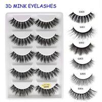 5 Pairs 3D Mink Hair False Eyelashes Wispy Cross Long Lashes Makeup Soft Hair UK