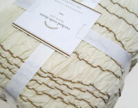 Pottery Barn Ivory Ruched Voile Cotton Twin Duvet Cover 1 Euro Sham New