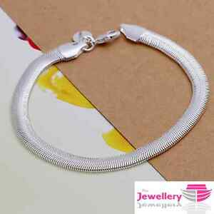 925 Sterling Silver Snake Chain Bracelet Bangle Jewellery Womens Ladies Gifts