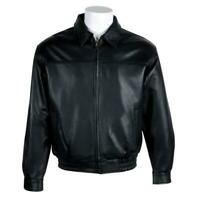 Vintage Men's Black Lambskin Leather Bomber Jacket With Zip Out Faux Fur Lining