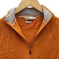 Peter Millar Orange 100% Merino Wool Mens 1/4 Zip Sweater Vest • Medium M