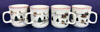 Joy of Christmas Classic Collectors Studio Coffee Tea Cups Mugs Set Of 4