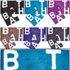 100% Cotton TEXT PRINT 2 Piece Bathroom Mat & Pedestal mat Set / Bath Rug