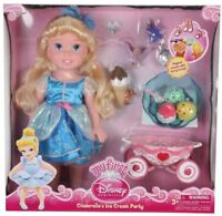 """NEW Disney 15"""" CINDERELLA DOLL Play Set Ice Cream Party + Carriage Musical Toy"""