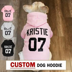 Custom Dog Hoodie Personalised Pet Clothes Puppy Name French Bulldog Funny Gift