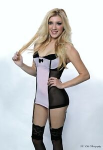 Pink Chemise Lingerie Molded Cup Black Mesh Lace Up One Size CH1041