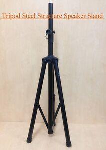 Height Adjustable Haze SS005 Steel Structure Speaker Stand, Tripod foot, Black
