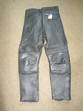 "ECHTES BLACK LEATHER MOTORCYCLE TROUSERS SIZE 32"" WAIST 28"" INSIDE LEG"