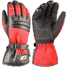 Akito Metro Leather & Textile Motorbike Motorcycle Gloves Black/Red XS Velcro