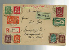 1922 Berlin Germany Early Airmail Cover to Konigsberg # C1-C9