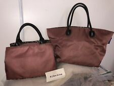 9261b8438754  RARE 2pc-set  Auth BURBERRY BLUE LABEL Brown Large Tote+Top Handle