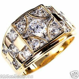 6 mm 1.45 Ct April Clear CZ Birthstone Gold Plated Men's Ring Jewelry Size 7-15