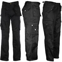 MENS TUFF DUTY WORK CONSTRUCTION POCKET TOUGH STITCHED CARGO MILITARY TROUSERS