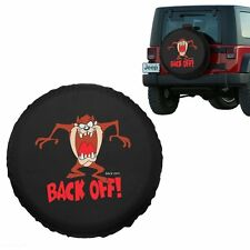 """Rear Spare Tire Cover Cartoon Wheelcover 17""""Inch """"Back Off!"""" For All Car Black"""