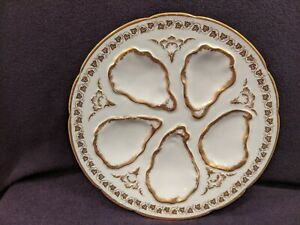 Limoges Oyster Plate Gold Trim GDA Haviland Red Mark Antique