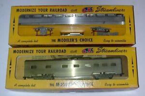 Herkimer Lot of 2 HO Streamliners Passenger Cars - 1 Built, 1 MIB - Excellent