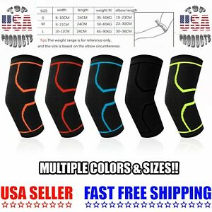 2 Elbow Brace Sleeve Compression Support Arthritis Tendinitis Joint Pain Relief