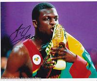 """Kirani James Colour 10""""x 8"""" Signed Olympic 400m Gold Medal Photo - UACC RD223"""