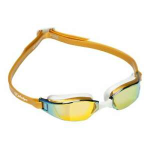 Michael Phelps XCEED Titanium Mirrored Lens Swim Goggles, Gold/White, 189120