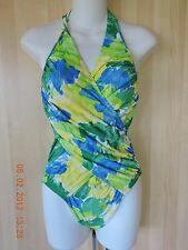 Rioka one piece multicolor padded bra halter swimsuit Size 11L  made in Japan