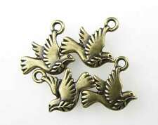 Peace Dove Charm Antiqued Brass TierraCast Bronze Flying Bird Christmas Holiday