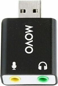 Movo 3.5mm TRS Microphone to External Sound Card USB Audio Adapter for PC & Mac