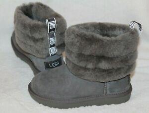 NIB UGG Mini Cuff Suede Shearling Boots Toddler Gray