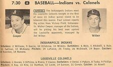 1958 TV MINOR BASEBALL AD~INDIANAPOLIS INDIANS~LOUISVILLE COLONELS~WALKER COOPER
