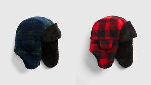 NWT GAP Buffalo Plaid Pro Fleece Cozy Trapper Hat Sherpa Lining Boys S/M L/XL