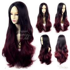 Wiwigs Largo Ondulado Ombre Dip Dye señoras pelucas Negro Marrón Rojo Azul Morado Verde