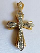 14k YELLOW & WHITE GOLD 18 DIAMOND STONES CROSS PENDANT INTRICATE