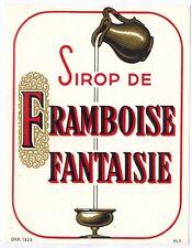 Chromo ancien doré - Etiquette sirop de framboise  Fantaisie - Réf.295f