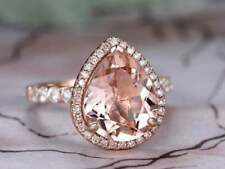 4Ct Pear Cut Morganite Synt Diamond Halo Solitaire Ring Rose Gold Finish Silver